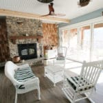 Fireplace, sunroom, high end construction.