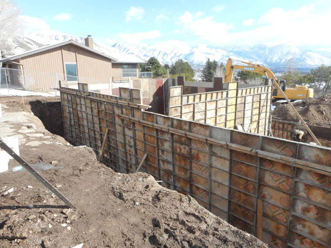 concrete forms for foundation ready for cement
