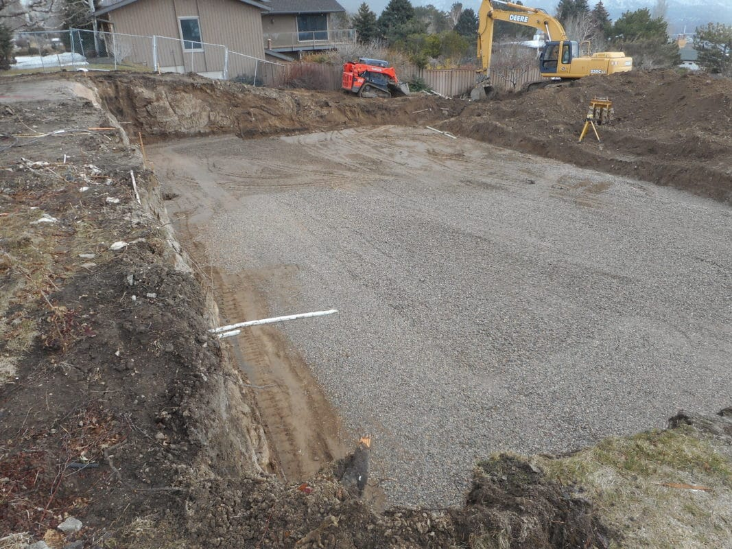 flattened area for footings to be poured after home torn down