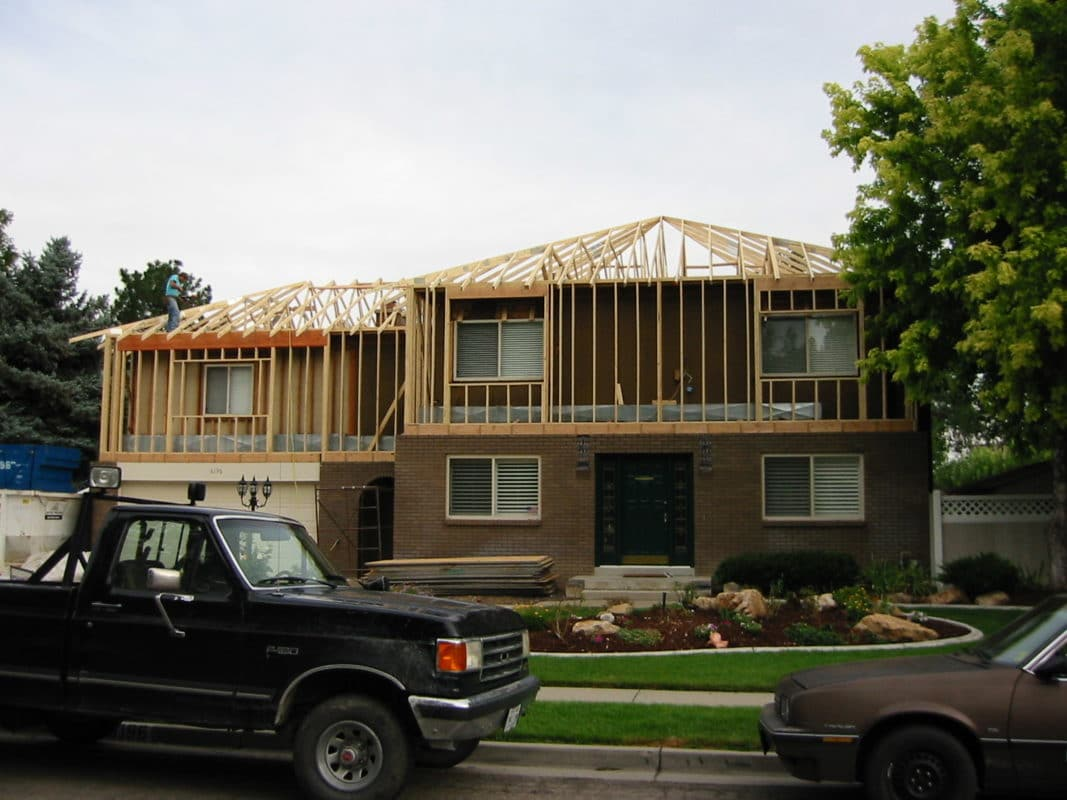 second level exterior framing new trusses