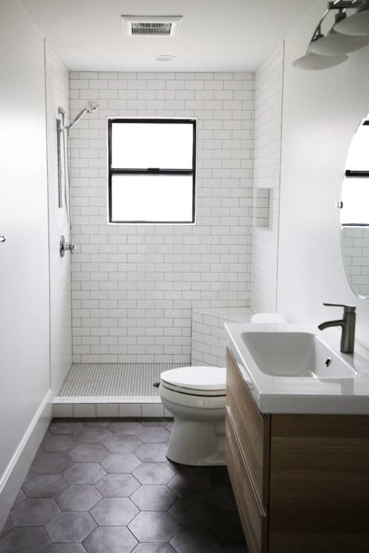 small bathroom, vanity toilet and shower
